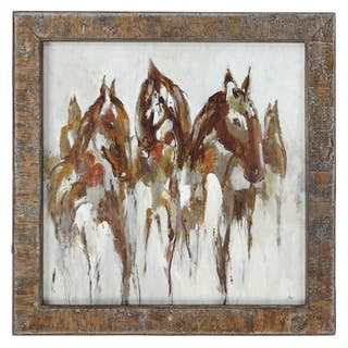 Uttermost Equestrian in Browns and Golds Abstract Art - Multi-color