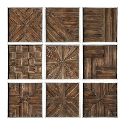 Uttermost Bryndle Rustic Wooden Squares ( Set of 9)