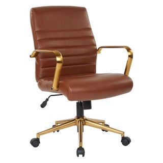 Ave Six Baldwin Mid-Back Faux Leather Chair with Gold Finish Arms and Base