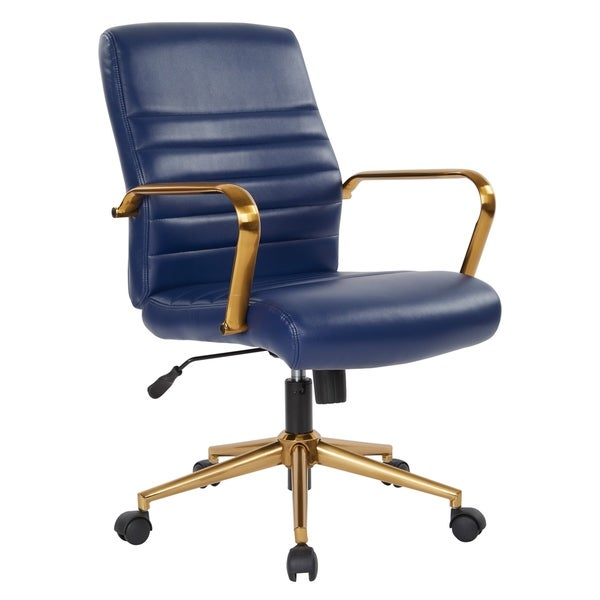 OSP Home Furnishings Baldwin Mid Back Faux Leather Chair With Gold Finish  Arms And Base