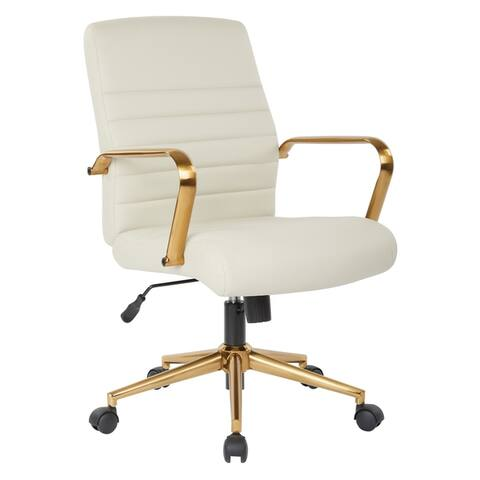 OSP Home Furnishings Baldwin Mid-Back Faux Leather Chair with Gold Finish Arms and Base