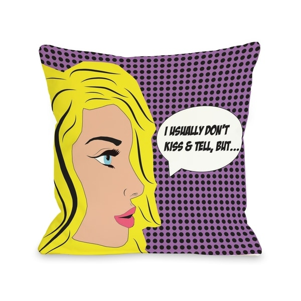 Don't Kiss & Tell Comic Pillow by OBC