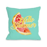 Hello Summer - Blue  Pillow by OBC