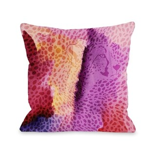 Cheetah Face - Purple Pillow by OBC