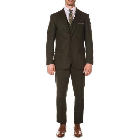 Ferrecci Mens Vintage Style Tweed Slim Fit 3pc Suit