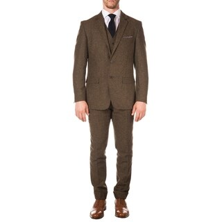 Ferrecci Mens Vintage Style Tweed Slim Fit 3pc Suit