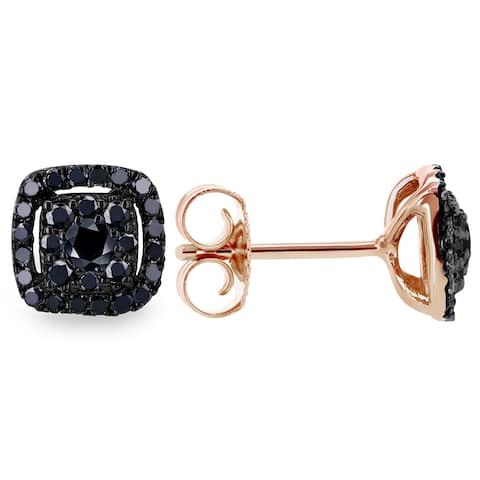 Annello by Kobelli 14k Rose and Black Gold 1/3ct TDW Black Diamond Halo Cluster Stud Earrings