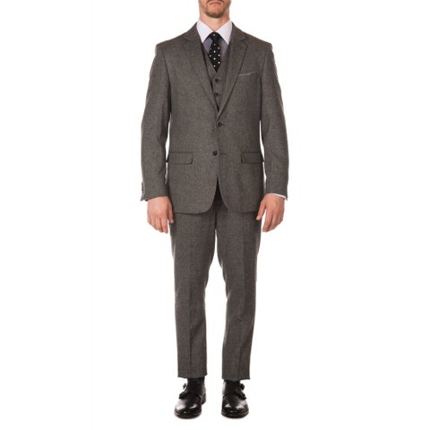 Ferrecci Mens York Vintage Style Slim Fit Herringbone 3pc Suit