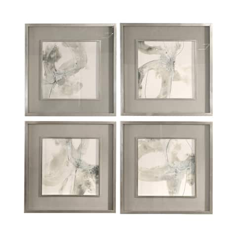 Uttermost Divination Abstract Art (Set of 4) - Grey/White