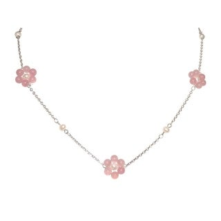 Lavender Daisy Necklace on Silver Chain - 17 and 18 Inch