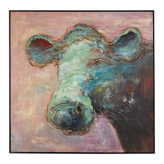 Uttermost Matty The Cow Animal Art - Blue/Pink/Multi-color