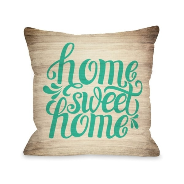 Home Sweet Home Wood - Green Pillow by OBC