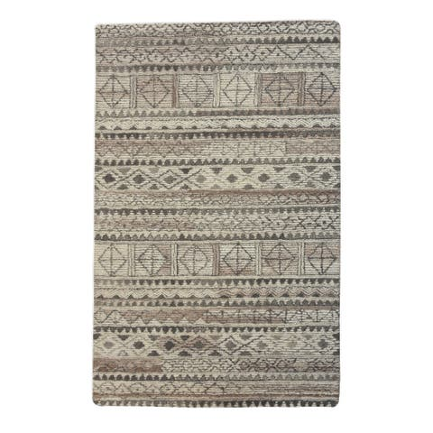Uttermost Burgos Ivory and Grey Tribal Rug - 8' x 10'