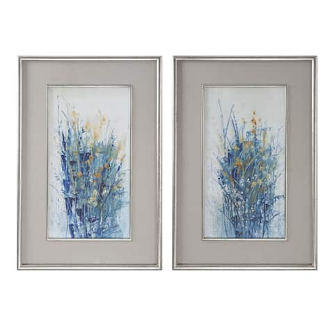Uttermost Indigo Florals Framed Arts (Set of 2) - Grey