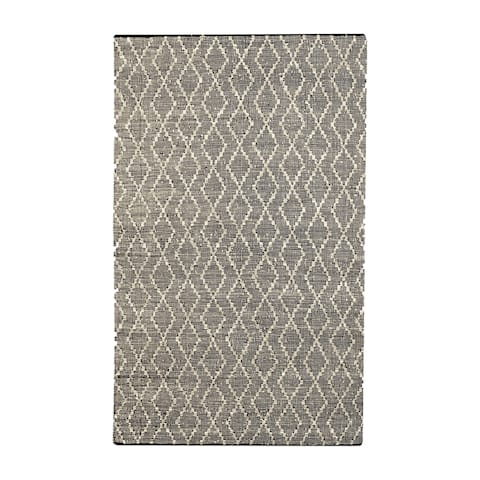 Uttermost Winnow Black and Beige Leather Rug