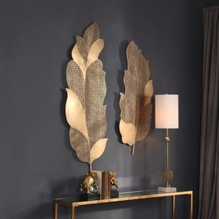 Uttermost Autumn Lace Leaf Wall Arts (Set of 2)