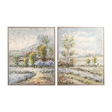 Uttermost Wayward Rivers Landscape Art (Set of 2) - Blue/Green/Brown