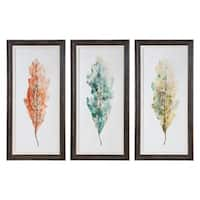 Uttermost Tricolor Leaves Abstract Art (Set of 3) - Multi-color