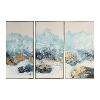Uttermost Crashing Waves Abstract Art (Set of 3) - Blue