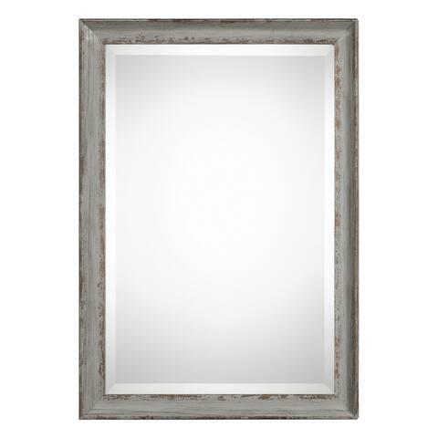 Uttermost Hattie Distressed Aged Blue Grey Mirror