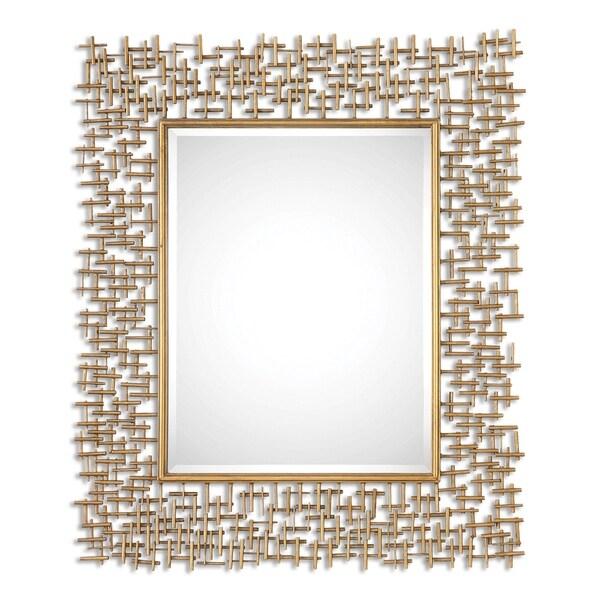 Shop Uttermost Nevena Antiqued Gold Leaf Mirror Free Shipping