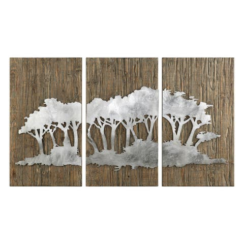 Uttermost Safari Views Silver Wall Art (Set of 3)