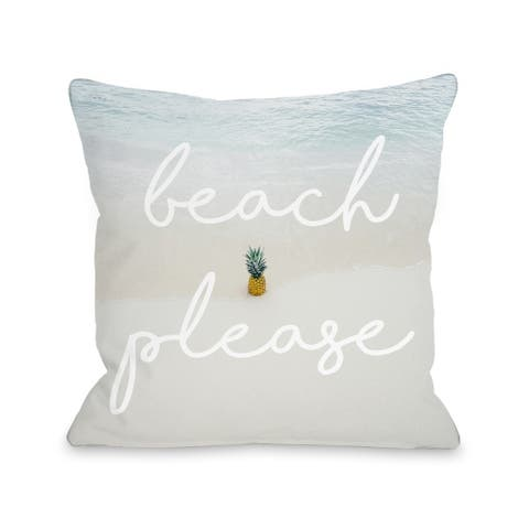 Beach Please Pineapple - Blue Pillow by OBC