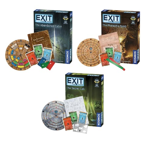 Thames & Kosmos Exit the Game Bundle of 3: The Secret Lab/ The Abandoned Cabin/ The Pharaoh's Tomb