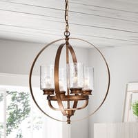 Nadeem Brown 4-Light Pendant with Clear Shade
