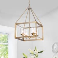 Tamara Antique Silver 4-Light Pendant with Clear Shade