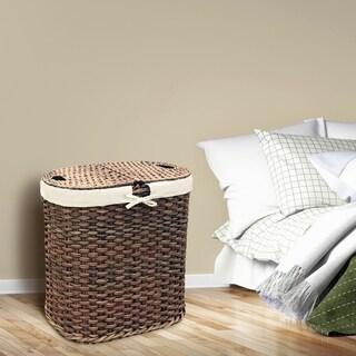 Seville Classics Hand-Woven Oval Double Laundry Hamper /w Liner, Mocha