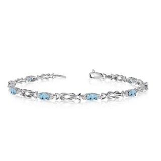 10K White Gold Oval Aquamarine and Diamond Bracelet