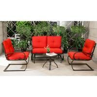 4 Piece Metal Conversation Set Cushioned Outdoor Furniture Patio Wrought Iron Conversation Set, Brick Red