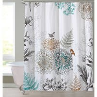 "Style Quarters Birdie Warm Color Shower Curtain-Birds and Floral on white ground-Buttonhole-Polyester-1pc - 72""W x 72""L"