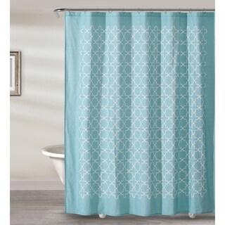 """Style Quarters SOPHIA TILE Shower Curtain - Aquarium and white Quatrefoil pattern - 72""""W x 72""""L"""