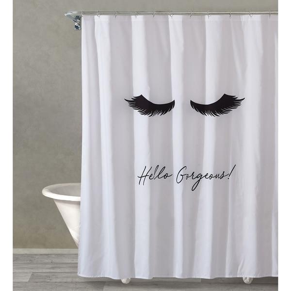 Style Quarters LASH OUT LOUD Shower Curtain Black Lashes And Script X27