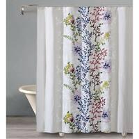 """Style Quarters DAHLIA LANE Shower Curtain Rainbow Color Floral Stems on White Ground - 100% Cotton - Buttonhole - 72""""W x 72""""L"""