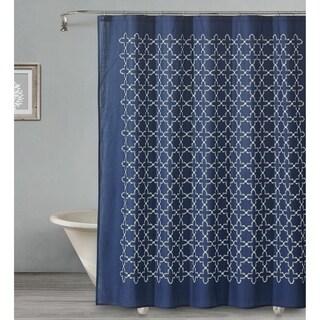 "Style Quarters SOPHIA TILE-NAVY Shower Curtain-Navy and white Quatrefoil pattern-100% Cotton-72""W x 72""L"