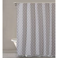 """Style Quarters MERMAID DOTS Shower Curtain--Small dotted fans  in Grey with white tassels-100% Cotton-Buttonhole -72""""W x 72""""L"""