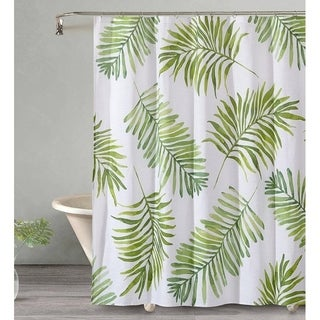"Style Quarters BREEZY PALM Shower Curtain-Overscaled Green Palm Leaves on white ground-Beach Resort Feel-100% Cotton-72""W x 72""L"