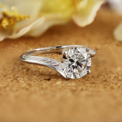 Vintage Inspired Round 2ctw Moissanite Solitaire Engagement Ring by Auriya 14k Gold