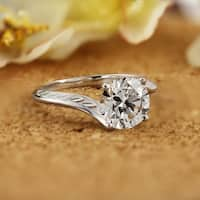 14k Gold Vintage Inspired Round 2ct DEW Moissanite Solitaire Engagement Ring by Auriya