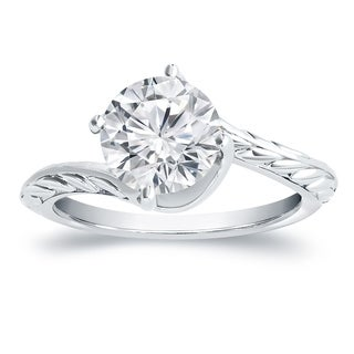 Auriya 14k Gold 4ct Vintage Filigree Round Solitaire Moissanite Engagement Ring