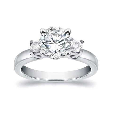 Auriya 14k Gold 1 1/2ct Moissanite and Diamond 3-Stone Engagement Ring 2/5ctw
