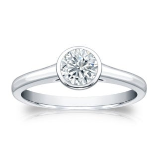 14k Gold 1ct Round Bezel Set Solitaire Moissanite Engagement Ring by Auriya
