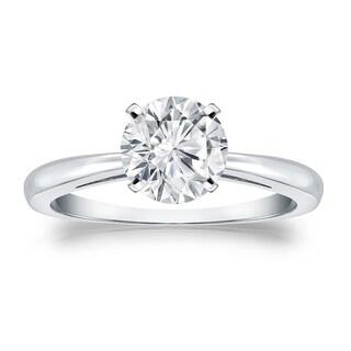 Auriya 14k Gold 3ct Round Solitaire Moissanite Engagement Ring