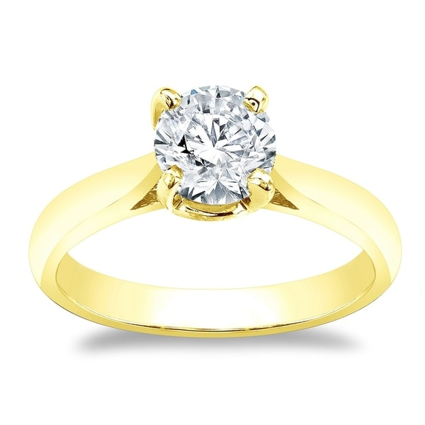 2Ct Round Cut Sparkle Moissanite Solitaire Engagement Ring 14K White Gold