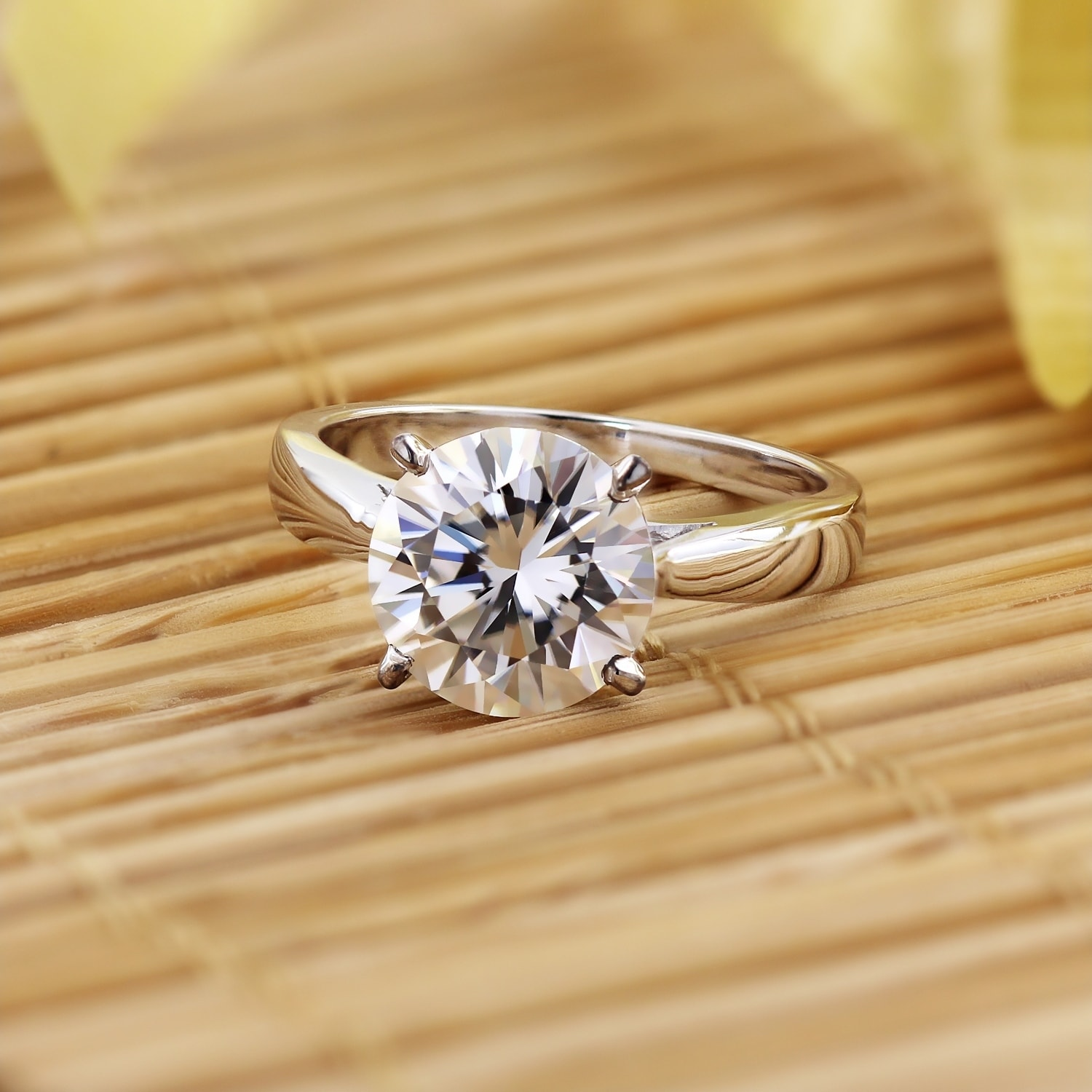 2.00 CT ROUND CUT BRILLIANT 14K WHITE GOLD MOISSANITE SOLITAIRE ENGAGEMENT RING