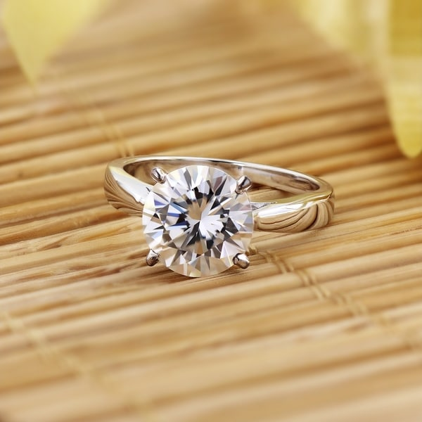 2Ct Round Cut Moissanite Men/'S Solitaire Engagement Ring 14K White Gold Over