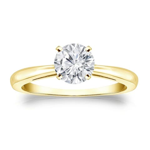Auriya 14k Gold 1 carat TW Round Solitaire Moissanite Engagement Ring